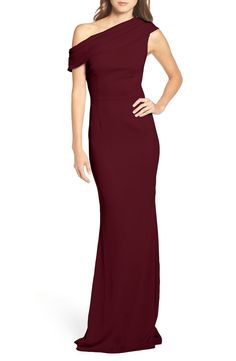 Katie May Pleat One-Shoulder Crepe Gown available at #Nordstrom