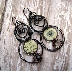 Lovers Eye french text assemblage dangle wire by anvilartifacts