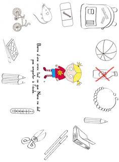coloriage Imprimer l'activité 3 sur la rentrée scolaire : Barre tout ce que Nana ne peut pas emporter à l'école