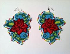 Turquoise rose beaded earrings, Native American beadwork