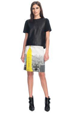 Tibi Empire On Denim Pencil Skirt
