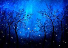 firefly paintings | Blue Firefly Tree Print - Twilight by Jaime Best