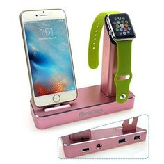 Usb Aluminum WatchStand 5 in 1 Apple Watch Iphone 6/6s/7/7 Dual Stand 3 USB…