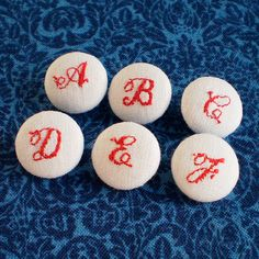 Fabric Buttons  Embroidered ABC  6 Small White by PatchworkMill, $4.00
