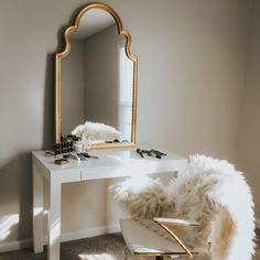 A statement gold mirror and faux fur throw from @pbteen gave quite the cozy feel to my vanity area! ❤ // Shop everything in this photo via @liketoknow.it http://liketk.it/2pVvN #liketkit