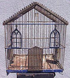 Ornate Victorian Bluebird Gothic Cathedral Bird Cage