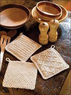 1, 2, 3! Cotton pot holders are an easy way to help with kitchen chores.