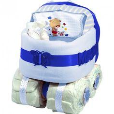 Tarta Carrito de Pañales Azul - Las tarta de pañales para bebés más espectaculares y originales están en lacestamagica.com ¡Visita nuestra Web! canastillas par bebés - cestas para bebes - Regalos Originales y Mucho más...