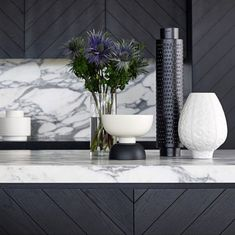 Black and white, marble and wood kitchen fit out.