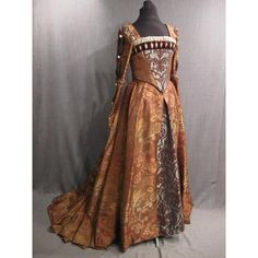 Renaissance copper brocade Cleves gown