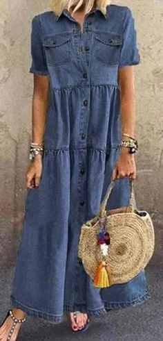 Casual Summer Dresses, Casual Outfits, Casual Shirt, Look Jean, Womens Denim Dress, Mode Outfits, Denim Fashion, Women's Fashion Dresses, Dress Brands