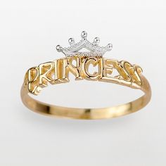 Disney 18k Gold Over Silver & Sterling Silver Princess Ring ($27) ❤ liked on Polyvore