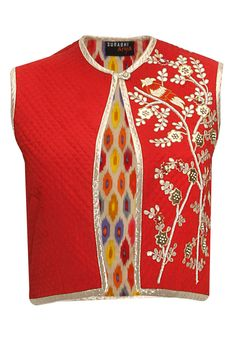 Red gotta pati embroidered short jacket - Featuring a red semi-satin short quilted jacket with gota patti and thread embroidery on one side in bird pattern - SURABHI ARYA Kurti Patterns, Dress Patterns, Indian Attire, Indian Wear, Blouse Styles, Blouse Designs, Indian Dresses, Indian Outfits, Satin Shorts