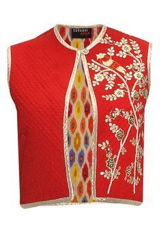 Red gotta pati embroidered short jacket  by Surbhi Arya. Shop at: www.perniaspopups... #jacket #surbhiarya #designer #chic #shopnow #perniaspopupshop #happyshopping.