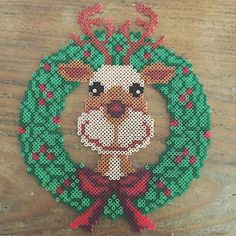 Christmas wreath hama perler beads by loutnn