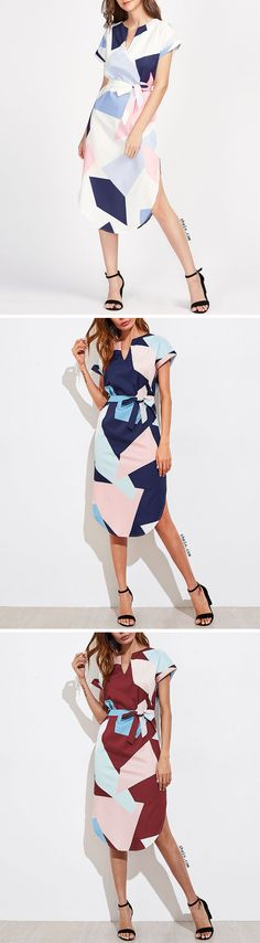 Rolled Sleeve Slit Side Curved Hem Self Tie Dress