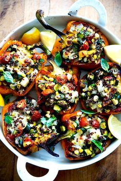 These summer vegetarian recipes are guaranteed to be easy and delicious! From simple vegan summer pasta to vegetarian tacos there's something for everyone! Quinoa Zucchini, Zucchini Tomato, Cooked Quinoa, Zucchini Pizzas, Vegetarian Stuffed Peppers, Stuffed Poblano Peppers, Stuffed Tomatoes, Summer Vegetarian Recipes, Vegetarian Meals