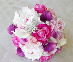 Wedding Purple Mix of Fuchsia, Pink and Lilac Natural Touch Peonies, Callas and Roses Silk Flower Bride Bouquet
