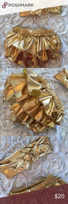 Boutique Baby Girl Gold Shiny Bloomers & Headband Adorable set of Shiny metallic gold material ruffle baby bloomers and matching knot bow headband set. Very cute for milestone photos and baby shower gift! Matching Sets