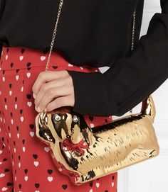 Canine Companion: Charlotte Olympia Axel Gold Plated Dachshund Clutch