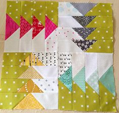 flying geese block by Erica on flickr; block tutorial: http://colorgirlquilts.com/2013/12/make-mini-quilt.html