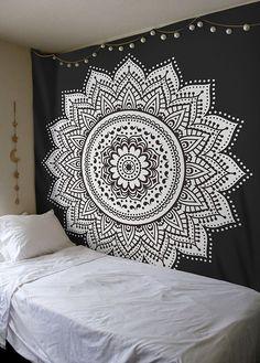 Black White Lotus Mandala Bohemian Wall Tapestry