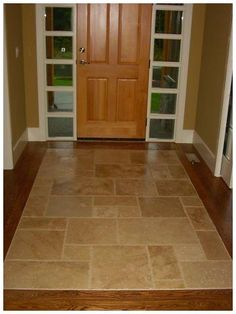 Small entryway tile floor ideas home interior decorating flooring room penny til . Flur Design, Tile Design, Wood Design, Entryway Flooring, Tile Entryway, Tiled Hallway, Hallway Designs, Flooring Options, Flooring Ideas