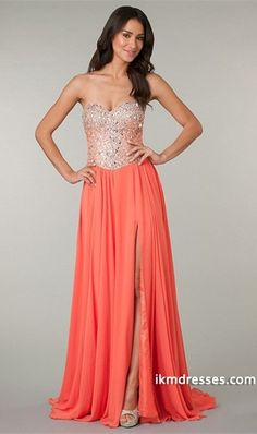 2015 Awesome Sweetheart Full Beaded Bodice Chiffon Prom Dress With Slit  http://www.ikmdresses.com/2014-Awesome-Sweetheart-Full-Beaded-Bodice-Chiffon-Prom-Dress-With-Slit-p85239