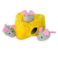 Grab your Mice 'N Cheese Dog Toy! Great for playing hide-and-seek - an interactive/fun dog toy! www.caninecube.com
