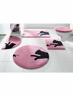 badmatten:Roze badmat met zwarte kat