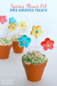 Spring Flower Pot Rice Krispies®️ Treats - Perfect for Easter, a Flower themed Birthday Party or Baby Shower! (AD)  B-Inspired Mama