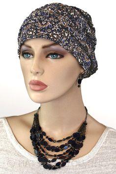 $19.50 - Paisley Blue Shirred Cap     #cancer #chemo #alopecia #hair loss