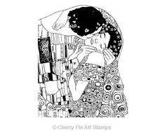 The KISS by Gustav Klimt CLiNG Rubber STAMP by cherrypieartstamps