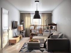 aménager un petit appartement avec meuble de séparation en version rangement de bois pour séparer le lit du salon