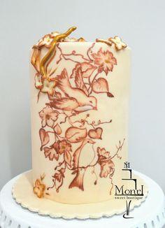 Spring Robins hand painted Cake - Cake by Mina Avramova