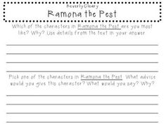 ramona the pest chapter and comprehension questions education rh pinterest com Ramona The Brave Ramona Quimby