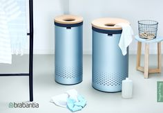 New Brabantia Laundry Bins with cork lid in Metallic Mint