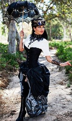 Steampunk Victorian Black Satin Corset w Double Bustle Silver Charcoal Damask Skirt Viktorianischer Steampunk, Steampunk Couture, Steampunk Dress, Steampunk Cosplay, Steampunk Wedding, Steampunk Clothing, Steampunk Necklace, Estilo Tribal, Steam Punk