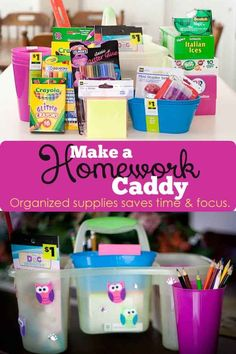 Making a homework caddy can help your child stay focused because all their supplies are within arms reach! Wherever you're doing homework! #pullingcurls