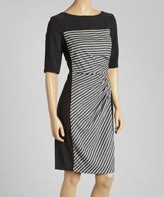 Another great find on #zulily! Black & White Stripe Sheath Dress - Women by Gabby Skye #zulilyfinds