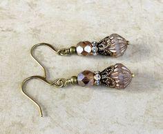 Brown Earrings Topaz EarringsCrystal Earrings by SmockandStone