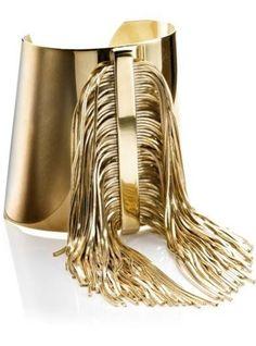 Gold Tassel Cuff Bracelet