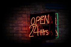 Open 24 hours. Neon sign displaying open 24 hours , #Aff, #hours, #Open, #Neon, #open, #displaying #ad