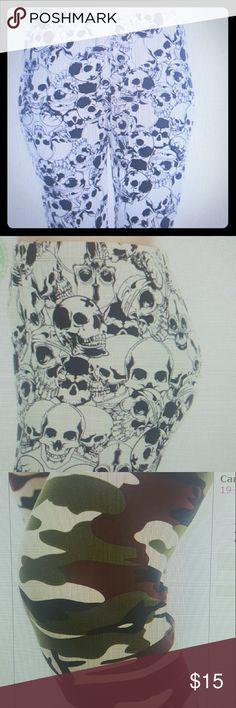 Closetchiq Boutiq...Leggings choice of skulls or camouflage print 92 polyester 8 spandex..27'length.. closetchiq Boutiq  Pants Leggings