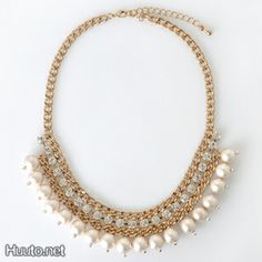 Rose Gold Pearl Statement Necklace $25 + worldwide shipping #summer #spring #accessory #fashion #jewelry