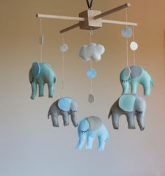 Baby mobile - nursery mobile - baby crib mobile - grey elephant mobile - baby gift - mint - blue, customize your colors