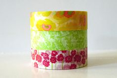 Japanese Washi Tape Yellow POPPY, Green Leaves, Pink Poppy Flowers masking tapes - Set of 3 PrettyTape 117ft total
