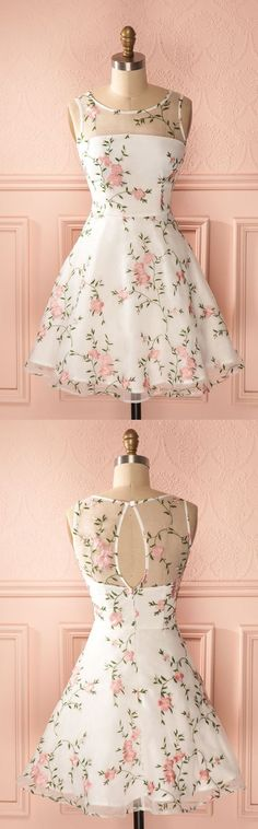 Homecoming dresses , cute short party dresses, modest key hole back fall homecoming party dresses with appliqués, short dreamy dance dresses. #shortpromdresses