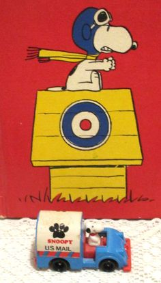 VINTAGE AVIA 1958/1966 SNOOPY DRIVING US MAIL TRUCK + SNOOPY & RED BARON BOOK #Avia