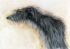 What an adorable scruff A Little Scruffy Woofy - Lurcher Hound Dog Print - 5 x 7 inch. £15.00, via Etsy.